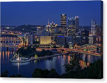 Steel City Glow Canvas Print by Rick Berk
