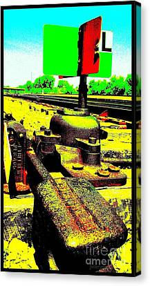 Steel Diesel Track Signal Canvas Print