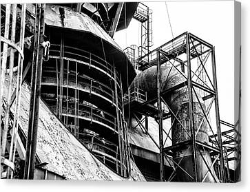 Steel Mill In Black And White - Bethlehem Canvas Print by Bill Cannon