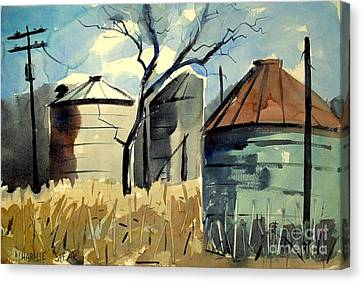 Canvas Print featuring the painting Steel Silos In A Field Matted Glassed Framed by Charlie Spear