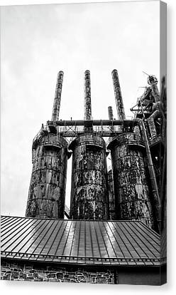 Steel Stacks - The Bethehem Steel Mill In Black And White Canvas Print by Bill Cannon