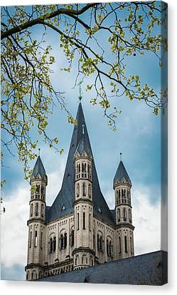 Steeple Of Great Saint Martin Church - Cologne - Germany Canvas Print by Jon Berghoff