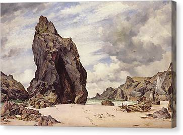 Steeple Rock, Kynance Cove, Lizard, Cornwall, Low Water, 1873 Canvas Print by Edward William Cooke