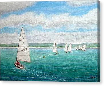 'steer The Course' - West Kirby Marine Lake, Wirral Canvas Print by Peter Farrow