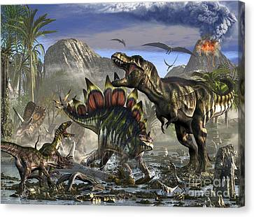 Stegosaurus Defending Himself Canvas Print
