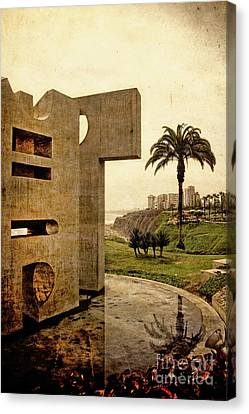 Canvas Print featuring the photograph Stelae In The Park - Miraflores Peru by Mary Machare