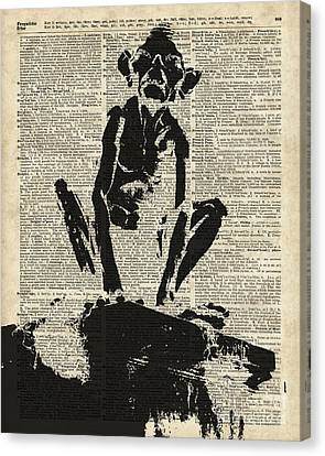 Stencil Of Gollum,smeagol Over Old Dictionary Page Canvas Print