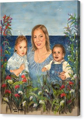 Stephanie With Sarah And Jillian Canvas Print