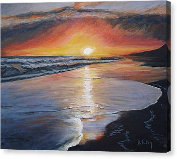 Canvas Print featuring the painting Stephanie's Sunset by Donna Tuten