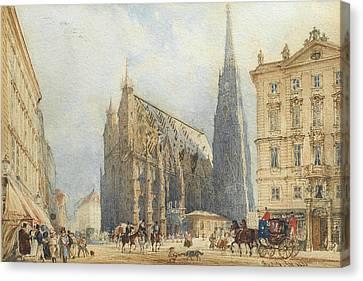 Alt Canvas Print - Stephansplatz In Vienna With The Cathedral by Rudolf von Alt