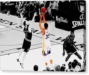 Stephen Curry Another 3 Canvas Print by Brian Reaves