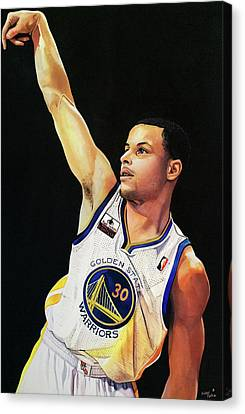 Stephen Curry Gold State Warriors Canvas Print by Michael  Pattison
