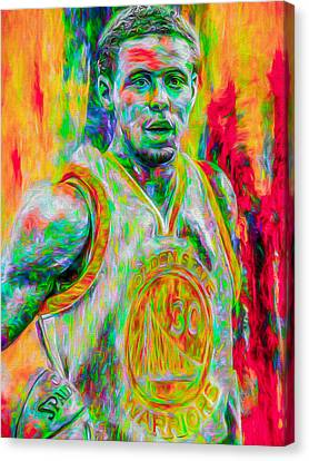 Stephen Curry Golden State Warriors Digital Painting Canvas Print by David Haskett