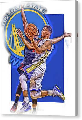 Stephen Curry Golden State Warriors Oil Art Canvas Print by Joe Hamilton