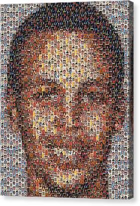 Stephen Curry Michael Jordan Card Mosaic Canvas Print by Paul Van Scott