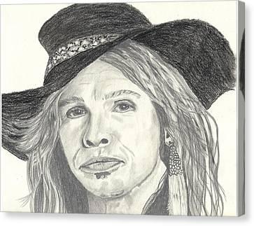 Stephen Tyler Canvas Print by DebiJeen Pencils
