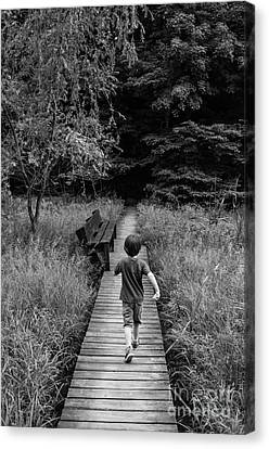Canvas Print featuring the photograph Stepping Into Adventure - D009927-bw by Daniel Dempster