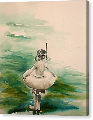 Canvas Print featuring the painting Stepping Out by Allison Ashton