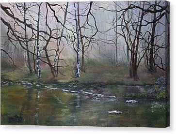 Canvas Print featuring the painting Stepping Stones On Cannock Chase by Jean Walker