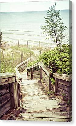 Canvas Print featuring the photograph Steps To Lake Michigan by Joel Witmeyer