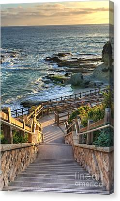 Canvas Print featuring the photograph Steps To Treasure Island Beach by Eddie Yerkish