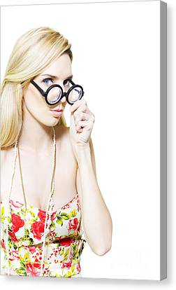Stereotypical Nerd In Glasses Canvas Print by Jorgo Photography - Wall Art Gallery