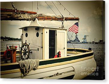 Stern Of A Sailboat Docked In Philadelphia Canvas Print by George Oze