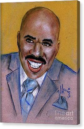 Canvas Print featuring the drawing Steve Harvey by P J Lewis