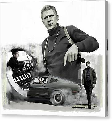 Canvas Print featuring the painting Steve Mcqueen Bullitt Mcqueen  by Iconic Images Art Gallery David Pucciarelli