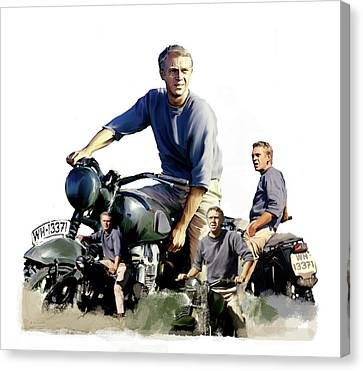 Canvas Print featuring the painting Steve Mcqueen  Captain Hilts Great Escape by Iconic Images Art Gallery David Pucciarelli
