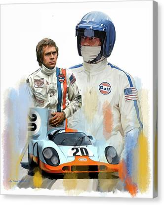 Canvas Print featuring the painting Steve Mcqueen Driving Force by Iconic Images Art Gallery David Pucciarelli