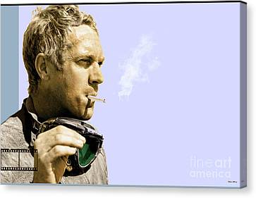 Angels Smoking Canvas Print - Steve Mcqueen Portrait by Thomas Pollart
