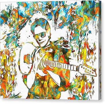 Steve Vai Paint Splatter Canvas Print by Dan Sproul