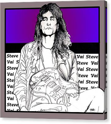 Canvas Print featuring the mixed media Steve Vai Sitting by Curtiss Shaffer