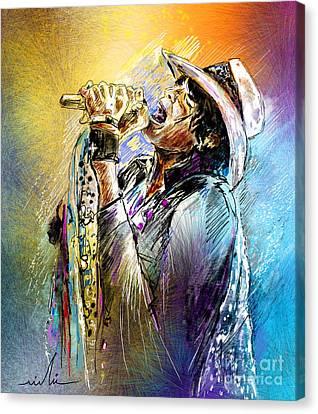 Steven Tyler 01  Aerosmith Canvas Print by Miki De Goodaboom