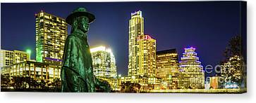 Stevie Ray Vaughan Austin Tx Panorama Canvas Print by Paul Velgos