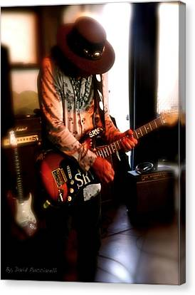 Canvas Print featuring the photograph Stevie Ray Vaughan Reflections   by Iconic Images Art Gallery David Pucciarelli