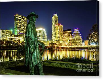 Stevie Ray Vaughan Statue With Austin Tx Skyline Canvas Print by Paul Velgos