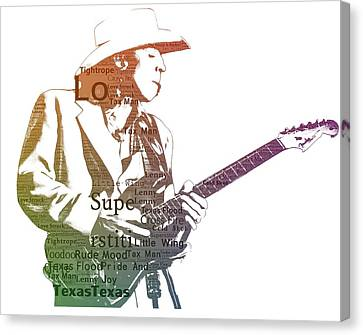 Stevie Ray Vaughan Typography Canvas Print by Dan Sproul