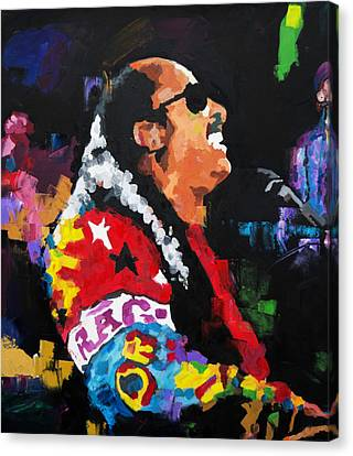 Canvas Print featuring the painting Stevie Wonder Live by Richard Day