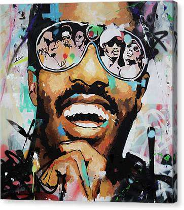 Piano Canvas Print - Stevie Wonder Portrait by Richard Day
