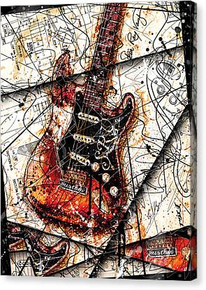 Stevie's Guitar V4 Canvas Print by Gary Bodnar
