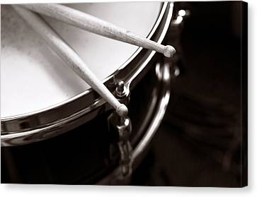 Drummer Canvas Print - Sticks On Snare Drum by Rebecca Brittain