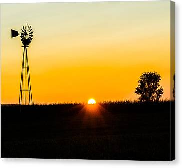 Canvas Print featuring the photograph Still Country Sunset Silhouette by Chris Bordeleau
