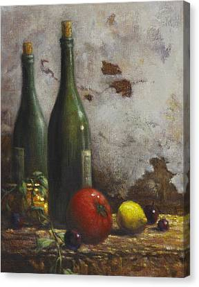 Wine Bottle Canvas Print - Still Life 3 by Harvie Brown