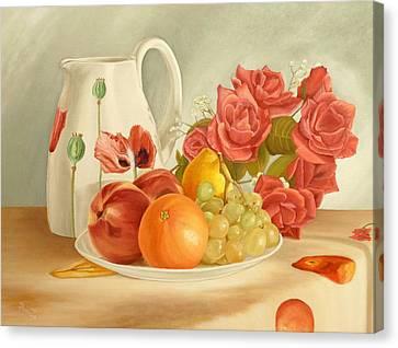 Grape Leaves Canvas Print - Still Life by Angeles M Pomata