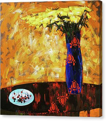 Canvas Print featuring the painting Still Life. Cherries For The Queen by Anastasija Kraineva