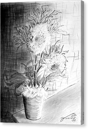 Still Life - Clay Vase With 3 Sunflowers Canvas Print by Jose A Gonzalez Jr