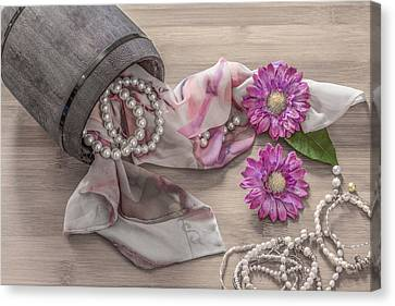 Still Life Details, Scarf And Pearls In Retro Vintage Wooden Box Canvas Print