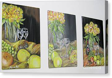 Still Life. Flowers And Fruits 2017 Canvas Print